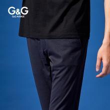 G&G男士夏季藍色褲子直筒休閑褲男修身小腳韓版潮流百搭薄款長褲