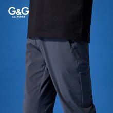 G&G 男装夏季灰色休闲裤男修身潮流百搭小脚裤薄款直筒弹力裤子