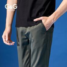 G&G 男装夏季弹力休闲裤男修身潮流百搭小脚裤直筒薄款墨绿裤子