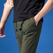 G&G 男装夏季运动休闲裤?#34892;?#36523;潮流百搭直筒小脚裤青年黑色裤子