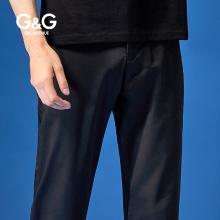 G&G夏季男款黑色休閑褲男修身小腳潮流百搭褲子薄款直筒青年長褲