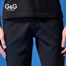 G&G夏季黑色薄款休闲裤男直筒修身小脚裤韩版潮流百搭弹力男裤子