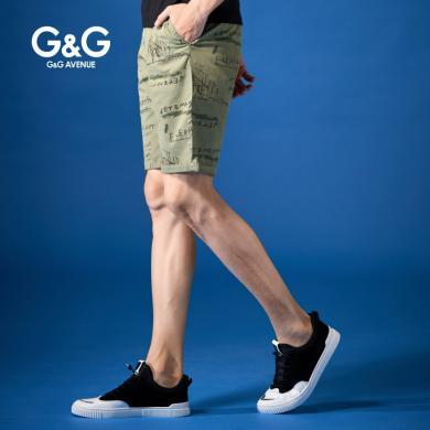 G&G夏季2019新款中褲男潮流修身男士休閑短褲韓版直筒百搭五分褲