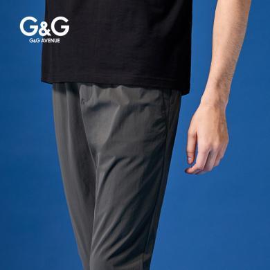 G&G男式夏季军绿休闲裤男修身潮流百搭男裤子韩版直筒薄款小脚裤