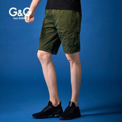 G&G男士新款大口袋工裝短褲男日系寬松五分褲潮夏季學生百搭中褲
