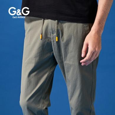 G&G夏季裤子男韩版潮流修身九分裤?#34892;?#33050;百搭薄款学生港风休闲裤