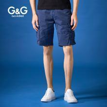 G&G 夏季男士藍色工裝短褲男寬松潮牌多口袋中褲青年百搭五分褲