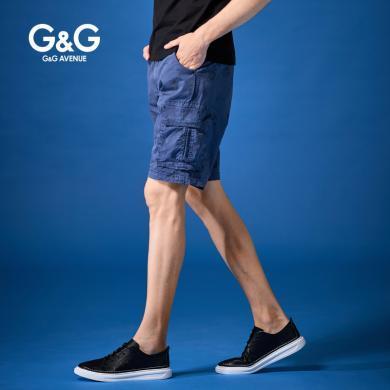 G&G 夏季2019新款工裝短褲男寬松直筒多口袋五分褲休閑潮流中褲
