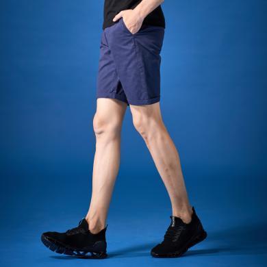 G&G夏天男士休閑短褲男2019夏季新款藍色直筒五分褲修身百搭中褲