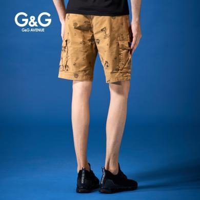 G&G夏天男?#23458;?#40644;色工装短裤2019夏季休闲中裤男多口袋潮流五分裤