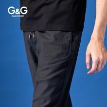 G&G 男装夏季运动休闲裤男修身潮流百搭直筒小脚裤青年黑色裤子