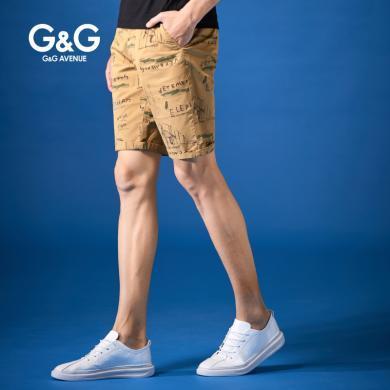 G&G 夏季男士休閑中褲男土黃色潮流韓版五分褲修身百搭學生短褲
