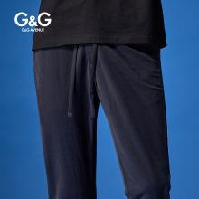 G&G 男装夏季休闲九分裤男修身潮流百搭小脚裤黑色薄款运动裤子