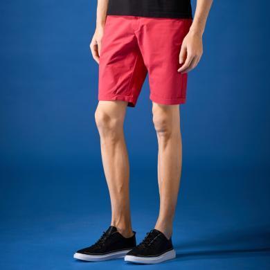 G&G 男士夏季新款五分褲男潮流韓版休閑短褲西瓜紅修身薄款中褲