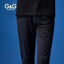 G&G 男式黑色休閑褲男夏季直筒修身薄款褲子潮流百搭學生小腳褲