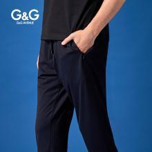 G&G夏季男士褲子九分褲男修身小腳休閑褲潮流百搭黑色運動束腳褲