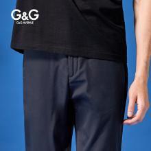G&G 夏季男士薄款裤子直筒休闲裤男潮流百搭长裤蓝色弹力小脚裤