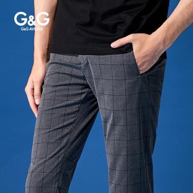 G&G 男士夏季灰色九分褲男格子潮流百搭休閑褲修身小腳薄款褲子