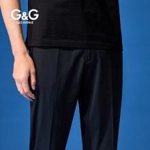 G&G 夏季新款黑色男款休閑褲直筒九分褲男修身小腳潮流百搭褲子