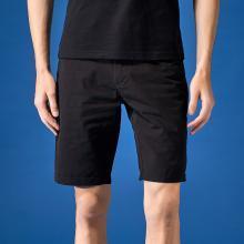 G&G 夏季新款短褲男潮黑色修身直筒中褲青年韓版百搭休閑五分褲