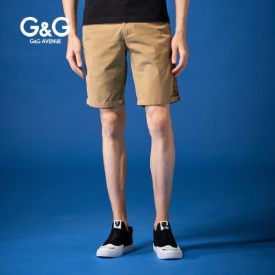 G&G 夏季新款直筒褲子男潮流韓版土黃色五分褲男士修身百搭中褲