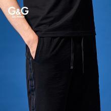 G&G男式夏季運動五分褲黑色休閑中褲男潮流百搭修身夏天沙灘短褲