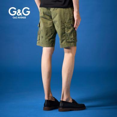 G&G 夏季2019新款綠色工裝短褲男多口袋寬松五分褲休閑潮牌短褲