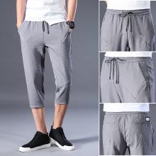 芃拉春夏新款薄款免烫型系绳男士休闲7分裤KY6687