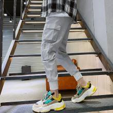 芃拉实拍工装裤小脚裤多袋裤潮休闲裤男韩版修身男哈伦裤九分男裤LDZ-G13