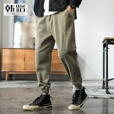 韓路休閑男裝219秋季新款男式ins純色拉鏈開襟束腳小腳工裝褲子C9175