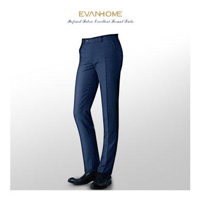 艾梵之家 犀牛褶男士西裤商务修身浅藏青西装裤子男士长裤EVXK159