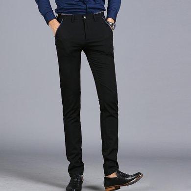 花花公子贵宾 四季新款休闲英伦小脚长裤子修身弹力男士西裤休闲裤