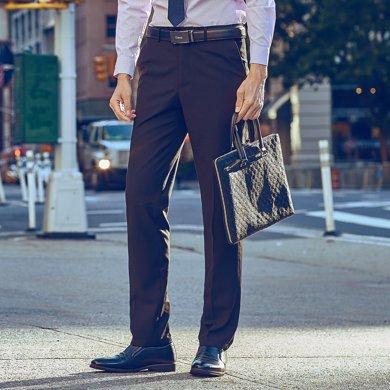 才子男装 西裤春季新品青年直筒长裤商务休闲抗皱上班男士西装裤男 5075E0920