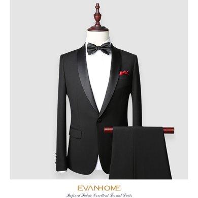 艾梵之家 男士西服套装修身晚礼服青果领西装黑色外套男EVXF060