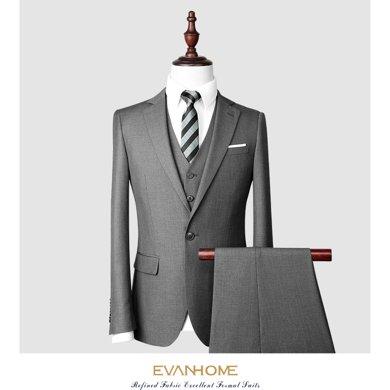艾梵之家 免燙修身西服套裝男正裝商務職業裝西裝三件套EVXF142