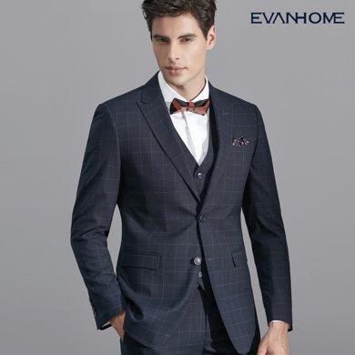 艾梵之家 西裝男套裝商務韓版修身英倫風格子西服三件套 EVXF133