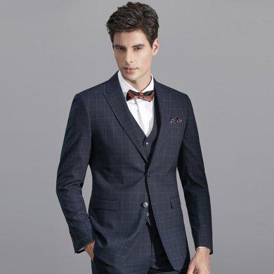 艾梵之家 西装男套装商务韩版修身英伦风格子西服三件套 EVXF133