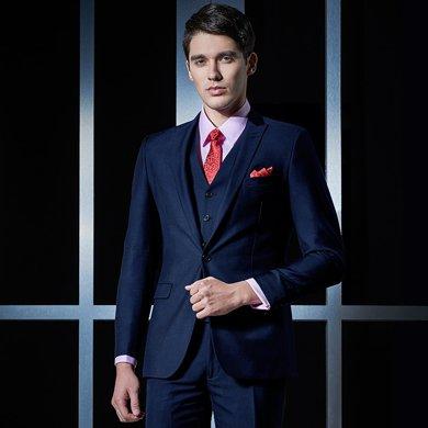 Evanhome/艾梵之家 新款西服套裝男士商務正裝西裝三件套修身型職業裝藏青色 EVXF088
