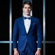 Evanhome/艾梵之家 新款男士西服两件套商务修身型蓝色提花西装外套男职业装EVXF100