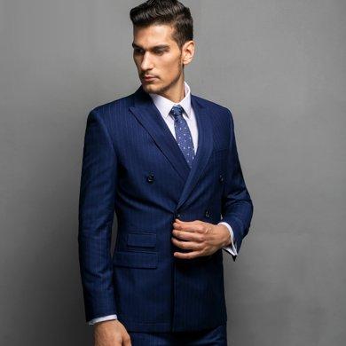 Evanhome/艾梵之家 秋季男士西服套裝 商務修身型禮服藏青白色條紋西裝外套EVXF037
