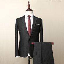 Evanhome/艾梵之家 春秋新款西装男套装修身型西装外套商务西服黑色提花男装EVXF050