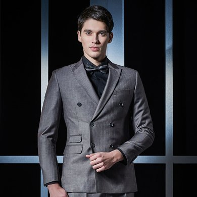 Evanhome/艾梵之家 男士西服外套修身款商務職業套裝灰色條紋雙排扣西裝二件套EVXF090
