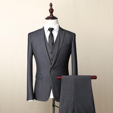 Evanhome/艾梵之家 新款西服套裝男商務修身款男士小西裝外套灰色男裝三件套EVXF087
