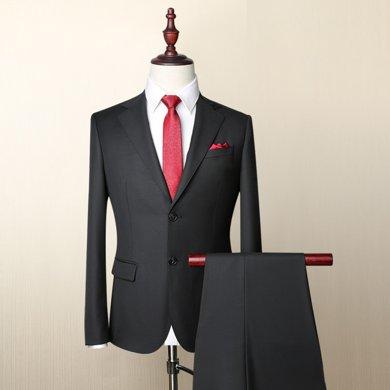 Evanhome/艾梵之家 春秋季新款羊毛男士西裝套裝商務修身正裝毛料西服男職業裝EVXF072