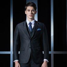 Evanhome/艾梵之家 商务修身款西服套装男士黑色提花三件套职业西装外套EVXF097