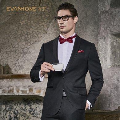 Evanhome/艾梵之家 男士羊毛西裝新郎結婚修身青果領西服套裝男禮服黑色提花EVXF076