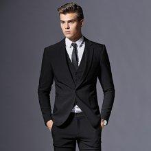 花花公子男士西服套裝商務正裝春季修身伴郎禮服黑藍紫紅色青年三件套西裝FZ182A315