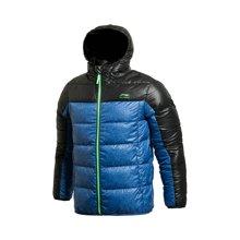 李宁短款羽绒服男士运动生活系列保暖连帽90%白鸭绒运动服AYMJ119