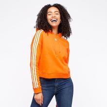 Adidas 阿迪达斯三叶草 橙色女款休闲连帽卫衣 DH3130