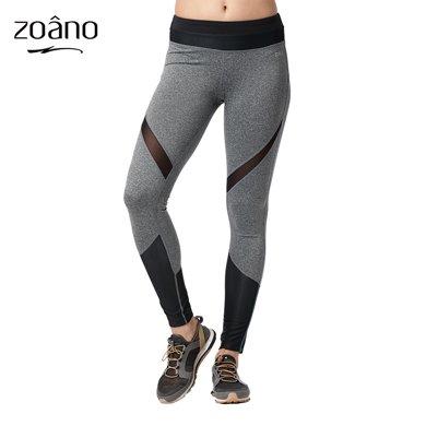 佐納(ZOANO)女款運動緊身瑜伽運動訓練健身褲 針織透氣速干女長褲